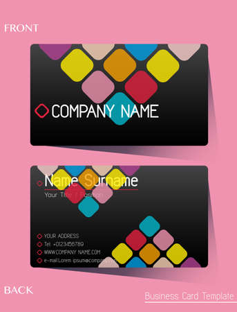 business cards: A colourful calling card on a pink background
