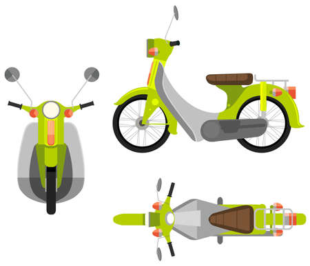 Illustration of different view of a motorcycle