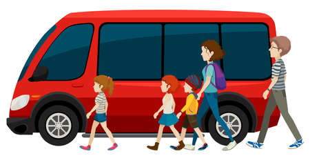Illustration of a family getting in a van Vector