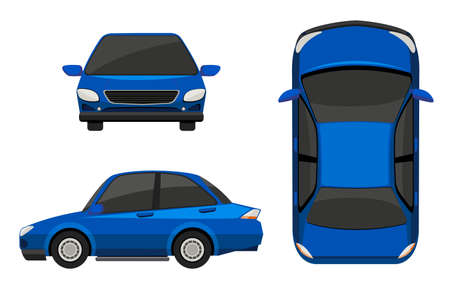 front view: Illustration of different view of a blue car Illustration