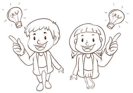 smart boy: Illustration of a boy and a girl having a good idea Illustration