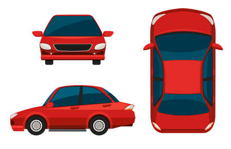 side view: Illustration of different view of a red car