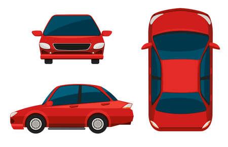 cartoon car: Ilustraci�n de vista diferente de un coche rojo Vectores