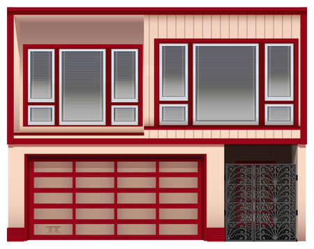 window view: Illustration of a two stories house