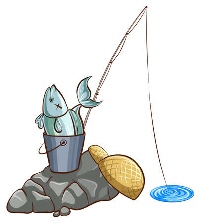 Fishing pole: Illustration of a bucket of fish and a fishing pole