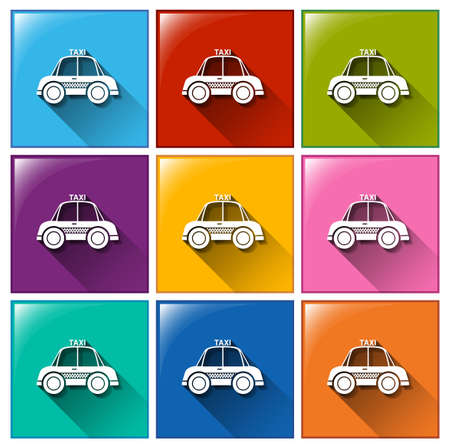 Buttons with taxi cabs on a white background Vector