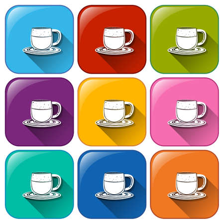 earthenware: Colourful buttons with mugs and saucers on a white background Illustration