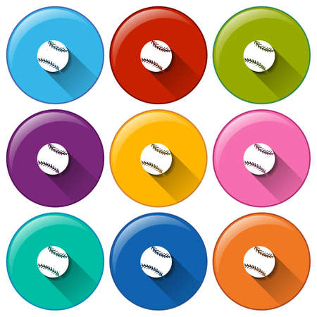 Circle buttons with small balls on a white background