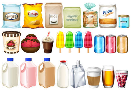 A group of foods and drinks on a white background Vector