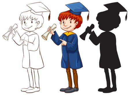 happy black man: A drawing of a boy graduating in three different colors on a white background