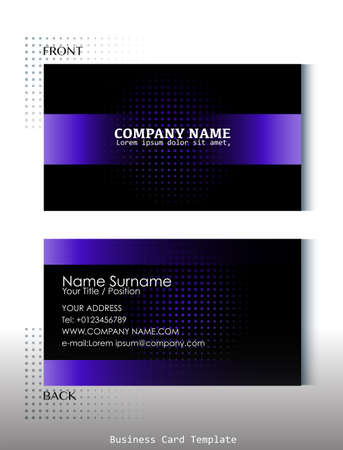 A black and violet colored business card on a white background Vector