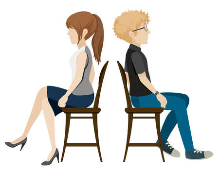 A boy and a girl sitting back to back on a white background
