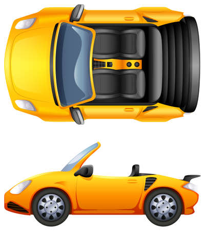 A top and side view of a sports car on a white background