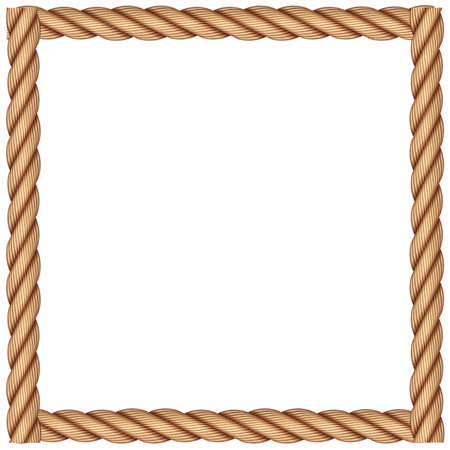 A frame made of rope on a white background Illustration