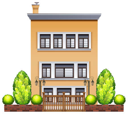 commercial real estate: A commercial building with a fence on a white background