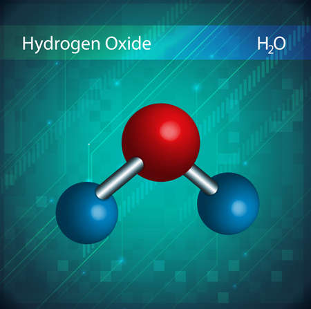 hidr�geno: Imagen de la mol�cula de �xido de hidr�geno Vectores