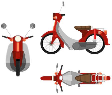 Tři strany pohled na motocyklu