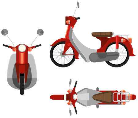 birdseye view: Three sides view of a motorcycle Illustration