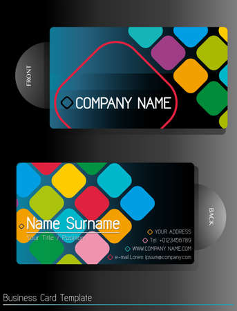 business cards: Colorful business card template front and back view
