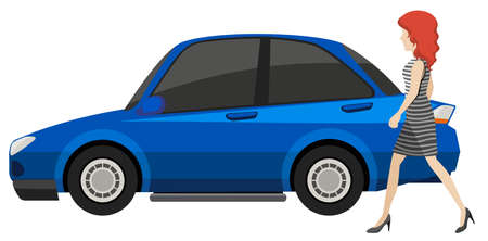 female driver: Side view of a blue car with woman walking pass by