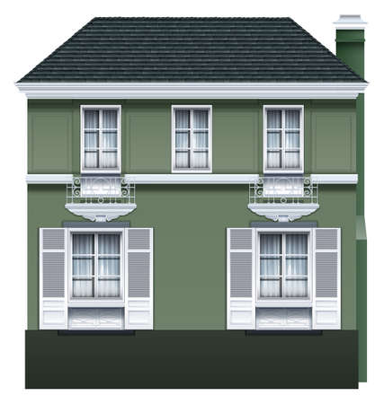 two storey house: Side view of a two storey house