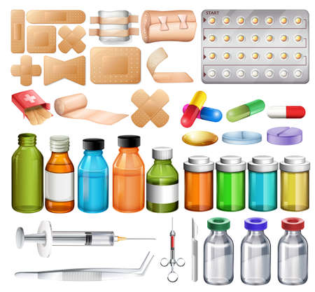 Set of first aid stuff commonly used Ilustracja