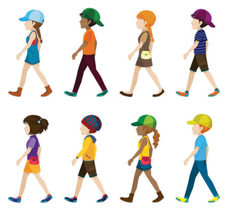 faceless: Faceless kids in walking pose Illustration