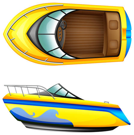 Side and top view of a boat Vectores