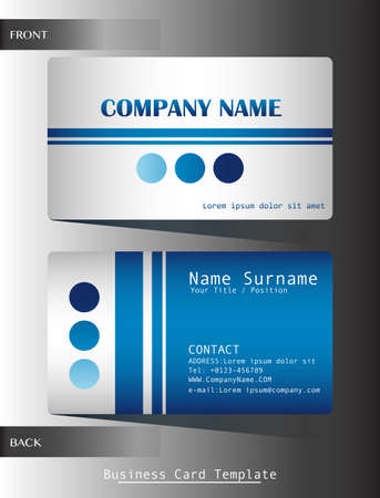 A blue colored calling card on a grey background Vector
