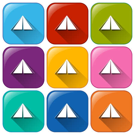 triangular shape: Rounded buttons with camping tents on a white background