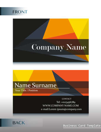A front and back design of a business card template royalty free a company calling card template vector accmission Choice Image