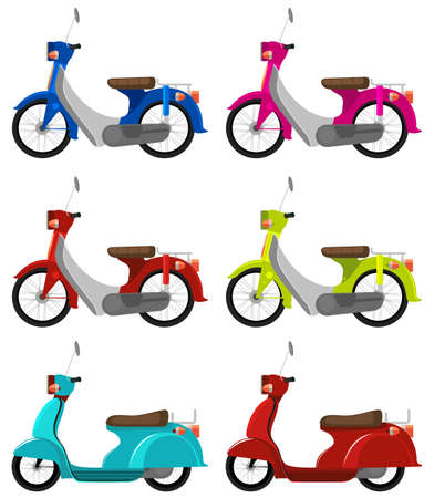a two wheeled vehicle: Six colourful scooters on a white background