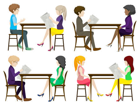 discussing: Faceless people discussing at the table on a white background Illustration
