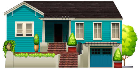 concrete stairs: A blue house on a white background Illustration