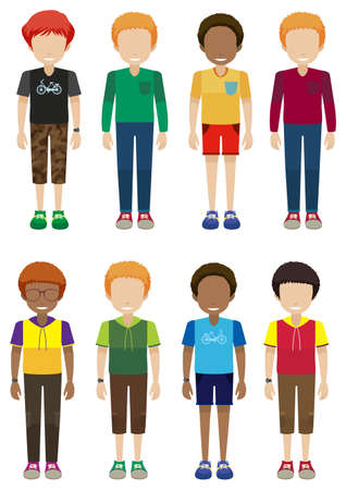 Faceless male teenagers on a white background Vector