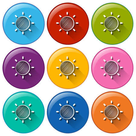 anthropological: Circle buttons with a sunny weather on a white background