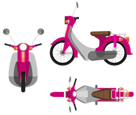 mopeds: A pink motor vehicle on a white background