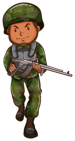 A brave soldier holding a gun on a white background