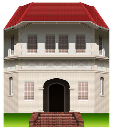 occupancy: An old commercial building on a white background Illustration