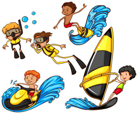 watersport: A sketch of a group of people enjoying the watersport activities on a white background