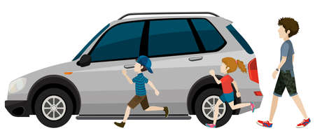 Kids running near the parked vehicle on a white background Vector