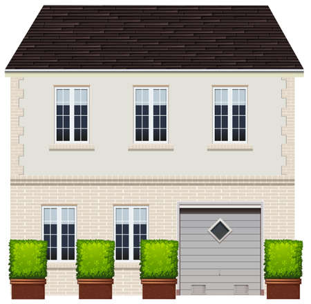 Illustration of a two-stories house with garage