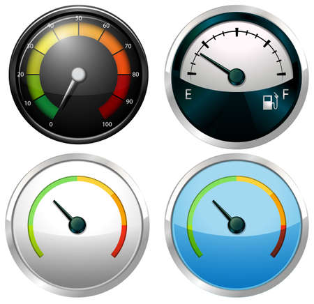 Sets of meter gauges on a white background Stock Vector - 34640363