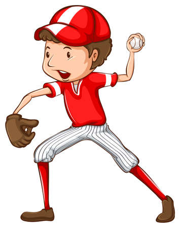 A drawing of a young baseball player on a white background Vector