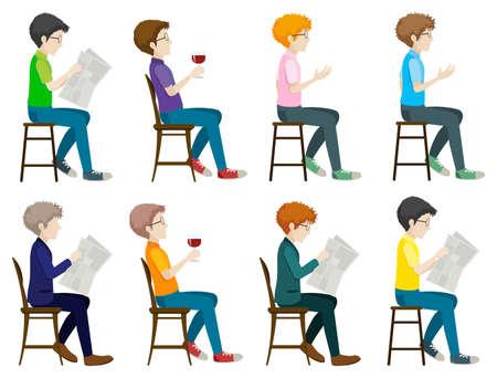 Illustration des différents hommes assis sur une chaise