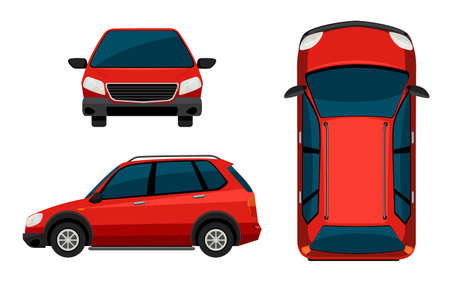 side view: Illustration of different position of a red car