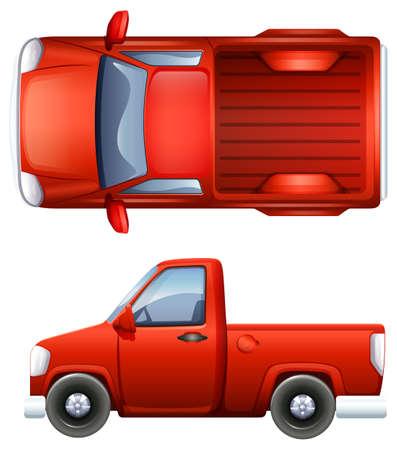 Illustratie van een zij- en bovenaanzicht van een pick-up truck