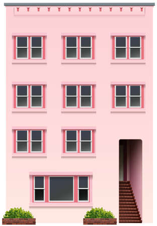 occupancy: A tall pink building on a white background