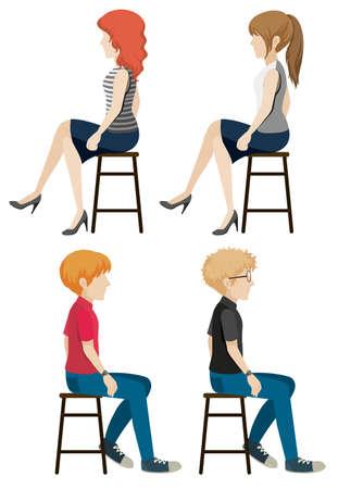 buena postura: Cuatro personas sin rostro que se sientan en un fondo blanco Vectores