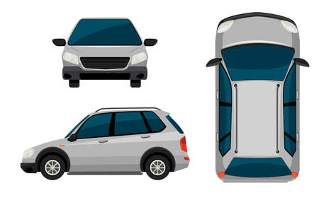lateral view: A vehicle on a white background